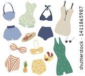 set of vintage lingerie and...   Shutterstock .eps vector #1411865987