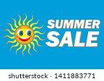 illustration of smiling sun ... | Shutterstock .eps vector #1411883771
