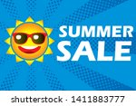 illustration of smiling sun ... | Shutterstock .eps vector #1411883777