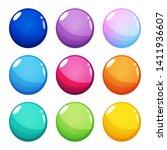 set of nine colorful round ...