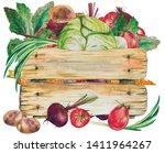 vegan food fresh watercolor...
