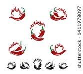 chili and pepper set.... | Shutterstock .eps vector #1411978097