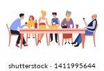 festive meal family dinner... | Shutterstock .eps vector #1411995644
