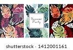 tropical leaves pattern ... | Shutterstock .eps vector #1412001161