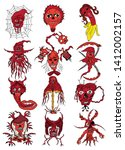 set of fictional devil vector... | Shutterstock .eps vector #1412002157