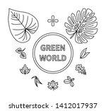 green world leaves linear icons ... | Shutterstock .eps vector #1412017937