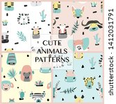 Stock vector set of safari baby animals seamless funny patterns vector kid prints collection hand drawn doodle 1412031791