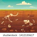 Ground layers with bones. Buried fossil animals, dinosaur, mammot, fish skeleton bone and shellfish.Vector flat style cartoon illustration