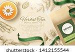 organic herbal tea in 3d... | Shutterstock .eps vector #1412155544