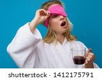picture of yawning woman with... | Shutterstock . vector #1412175791
