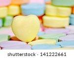 empty yellow heart candy over... | Shutterstock . vector #141222661