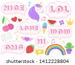 cute lol stickers. wow  omg and ... | Shutterstock . vector #1412228804