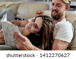 husband and wife relaxing on... | Shutterstock . vector #1412270627