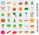 Foliage Icons Set. Cartoon...