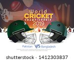 Pakistan VS Bangladesh Cricket Match concept with golden trophy and other participant countries flags on stylish background.