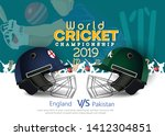 England VS Pakistan Cricket Match concept with golden trophy and other participant countries flags on stylish background.