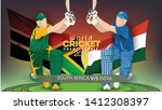 Southafrica VS India Cricket Match concept with golden trophy and other participant countries flags on stylish background.