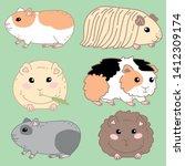 guinea pig cartoon cute set... | Shutterstock .eps vector #1412309174