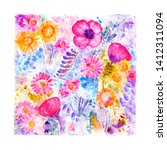 hand drawn watercolor fantasy... | Shutterstock . vector #1412311094