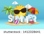 paper art of summer  vector art ... | Shutterstock .eps vector #1412328641