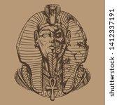 egyptian pharaoh in a destroyed ... | Shutterstock .eps vector #1412337191