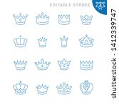 crown related icons. editable... | Shutterstock .eps vector #1412339747
