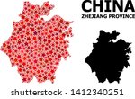 Red star mosaic and solid map of Zhejiang Province. Vector geographic map of Zhejiang Province in red color variations. Abstract mosaic is constructed with randomized flat star items.