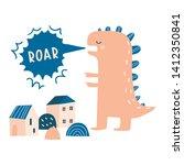 dino roar. cartoon monster...   Shutterstock .eps vector #1412350841