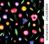 hand drawn watercolor fantasy... | Shutterstock . vector #1412353034