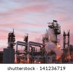 oil refinery piping and towers | Shutterstock . vector #141236719