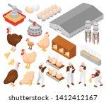 chicken poultry farm isometric... | Shutterstock .eps vector #1412412167