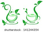 abstract cup and a leaf of... | Shutterstock .eps vector #141244354