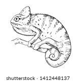 sketch of chameleon. hand drawn ... | Shutterstock .eps vector #1412448137