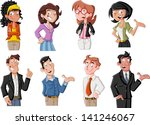 group of happy cartoon young... | Shutterstock .eps vector #141246067