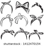 set retro headband for woman.... | Shutterstock .eps vector #1412470154