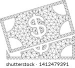 mesh banknotes model icon. wire ... | Shutterstock .eps vector #1412479391