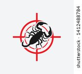 scorpion icon red target.... | Shutterstock .eps vector #1412488784