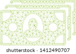 mesh banknotes model icon. wire ... | Shutterstock .eps vector #1412490707