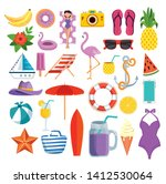 set of summer time with... | Shutterstock .eps vector #1412530064