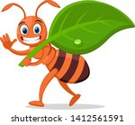 ant carries a green leaf ... | Shutterstock .eps vector #1412561591