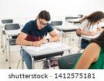 confident teenage student... | Shutterstock . vector #1412575181