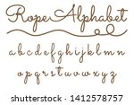 rope hand drawn font  3d... | Shutterstock .eps vector #1412578757