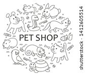 pet shop  types of pets in... | Shutterstock . vector #1412605514