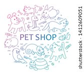 pet shop  types of pets in... | Shutterstock . vector #1412609051
