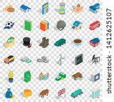 wealth icons set. isometric... | Shutterstock .eps vector #1412625107