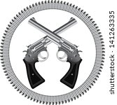 two crossed silver revolvers... | Shutterstock . vector #141263335