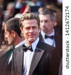 """Small photo of CANNES, FRANCE - MAY 21, 2019: Brad Pitt attends the screening of """"Once Upon A Time In Hollywood"""" during the 72nd annual Cannes Film Festival"""