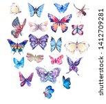 watercolor butterflies vintage... | Shutterstock . vector #1412709281