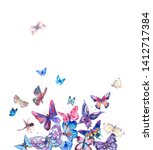 Stock photo watercolor butterflies vintage card colorful nature abstract illustration isolated on white 1412717384