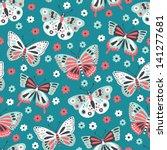 butterfly seamless pattern | Shutterstock .eps vector #141277681